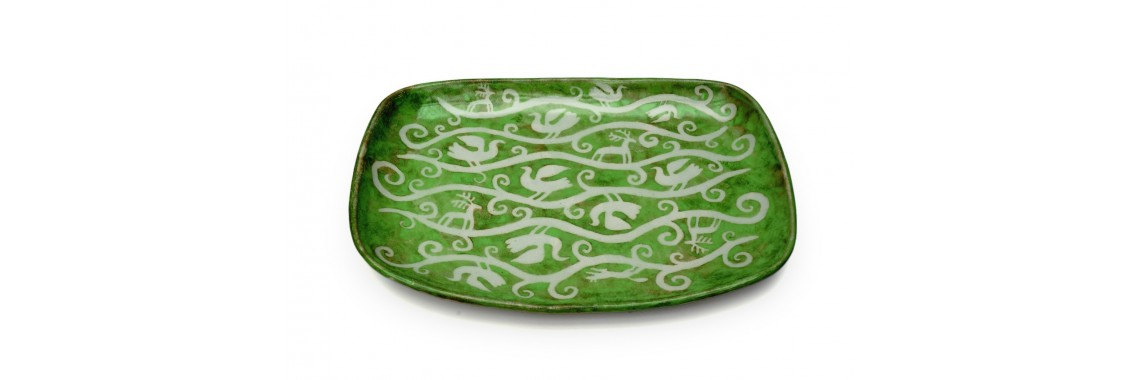 Tray - Green glaze over resist