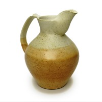 "Jug 10""h. - Cream/Brown Glaze"