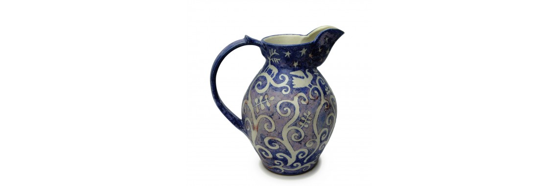 Jug - Blue glaze over resist