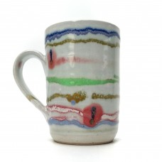 "Mug 4½"" Banded with spots of red"
