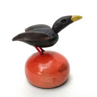 Raku Bird on an Orange Buoy