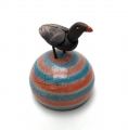 Raku Bird on Blue Orange Buoy