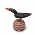 Raku Bird on orange striped buoy