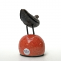 Raku Bird on Red Buoy - wings folded