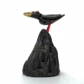 Raku Bird on the rocks - wings folded